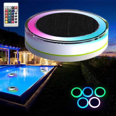 Remote Control Solar Power LED Colourful Swimming Pool Light Garden Waterproof