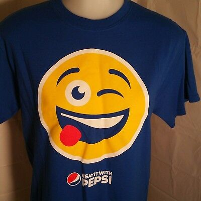 Pepsi Cola Emoji T shirt Adult Small #SayItWithPepsi Emoticon Smile Royal Blue