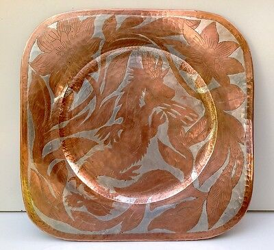 Asian Copper Wall Plate Hanging Copper Dragon Chinese Japanese