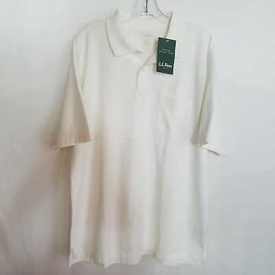 NEW LL Bean Mens Acura Embroidered White Double L Premium Polo Shirt Large T319