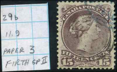 Canada #29b used F 1868 Queen Victoria 15c red lilac Large Queen Variety