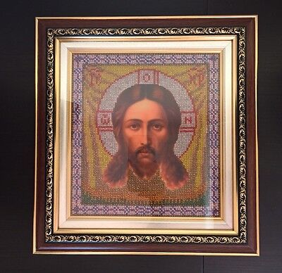 "Embroidered With Sparkling Crystal Beads Russian Orthodox Icon ""jesus Christ"""