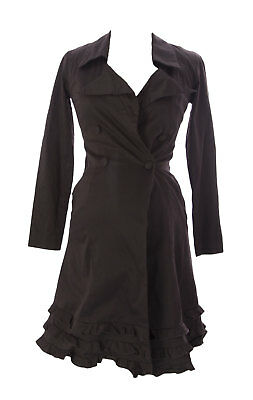 MOTHERS EN VOGUE Maternity Women's Chocolate Trench Coat Sz XS $115 NEW