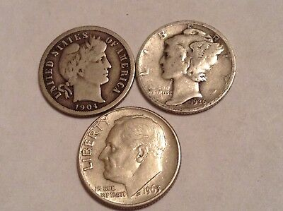 1904 - 1963 SILVER Dimes 10 CENTS MIXED COIN LOT