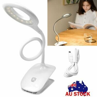 Dimmable Eye Care LED Desk Table Lamp USB Flex Clamp Clip On Clamp Reading Light