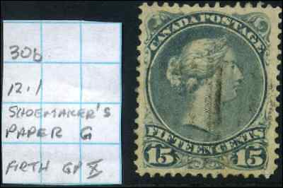 Canada #30b used F-VF 1875 Queen Victoria 15c blue grey Large Queen Variety