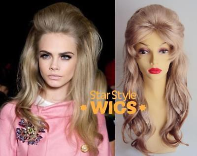 DELUXE BARBARELLA 1960's LONG WAVY BLONDE BEEHIVE DRAG FASHION COSTUME WIG