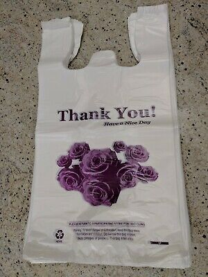 """Heavy Duty T-Shirt Bag Flower Thank You Plastic Carry Out Bags 11.5""""x 6""""x 21"""""""
