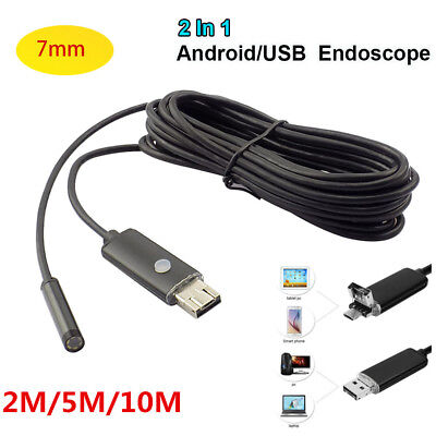 10M 7mm 6 LED 2 in 1 Android USB Endoscope Inspection Snake Tube Pipe Camera