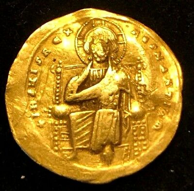 Ancient Byzantine Gold Coin; Romanus Iii, Jesus Christ With Gospels; 1028-1034Ad