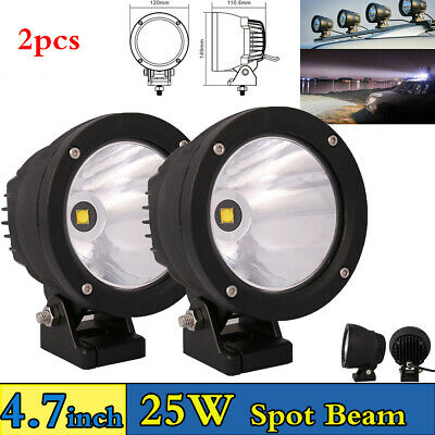 2x4.7inch 25W 6000K LED Driving Work Spot Beam Round Lights  4WD Offroad +Cover