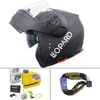 LEOPARD Inner Visor Matt Black Motorbike Helmet Flip Up Front Motorcycle Crash