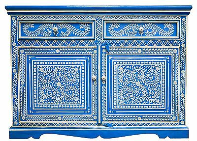 Blue Hand Painted Sideboard Cabinet Buffet Indian Moroccan Antique Bone  Inlay