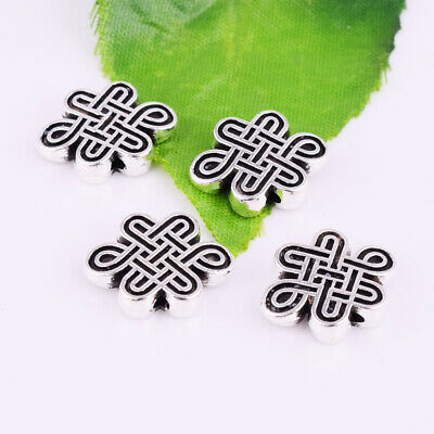 Charm Chinese Knot Spacer Beads Metal Tibetan Silver Jewelry Findings 17x13mm