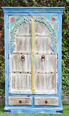 Indian Antique Rustic Hand Painted Boho carved Wardrobe Storage Vintage Cabinet