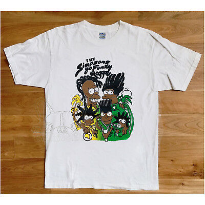 Vtg 90'S Black Bart Simpson Tshirt Gildan The Simpsons Go Funky Reggae Reprint