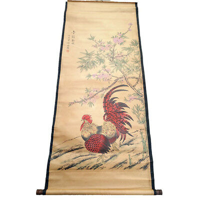 Chinese Hanging Draw Hand-Painted The Cock Plum Calligraphy Scroll Painting