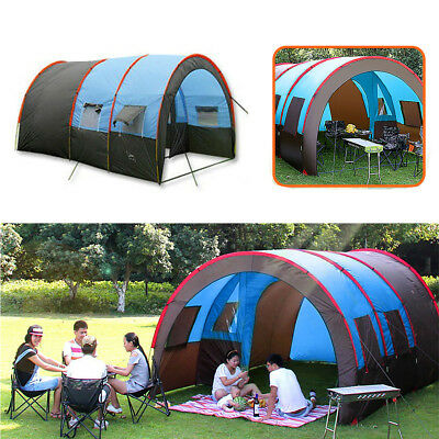 10 People Camping Tent Waterproof Tunnel Double Layer Large Family Canopy 3 Size