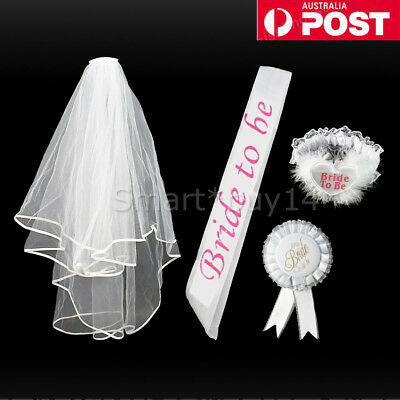 Bride To Be Hens Party White Veil Badge Sashes Garter Bachelorette Wedding AU