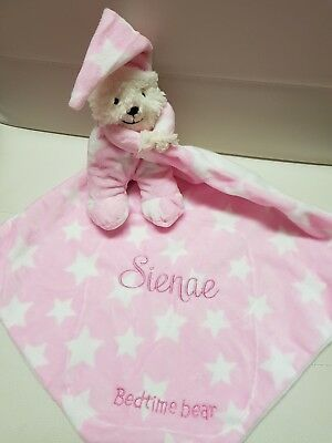 Baby Boy Girl Security Snuggle Blanket PINK BEAR . Personalised with YOUR NAME