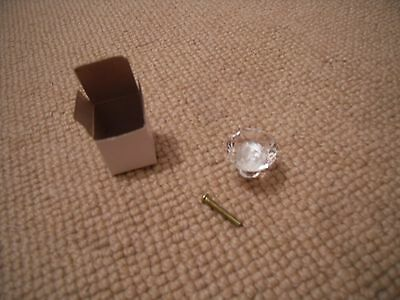 set of two glass (crystal cut) drawer knobs - handle