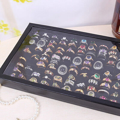 100Ring Jewellery Display Storage Box Tray Show Organiser Earring Holder 30*18cm