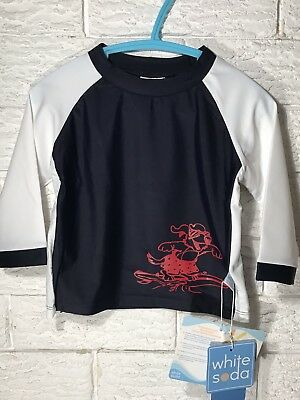 White Soda Boys Rashie Sun Shirt Long Sleeve Red Surf Dog Size 2