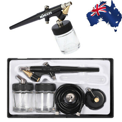 Black 0.8mm Siphon Feed Single Action Trigger Spray Paint Gun Airbrush Kit Z7N7