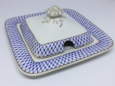 Antique SOHO Pottery Solian Ware Blue White Butter Dish (1913-1930)