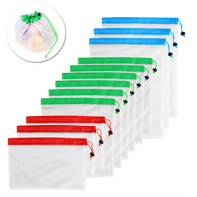 12pcs Reusable Produce Mesh Bags Black Rope Vegetable Fruit Toy Storage Pouch