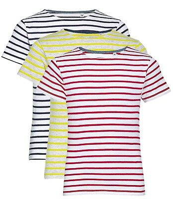 Boys Girls Childs Childrens Kids Blue White Red Striped T Cotton T-Shirt Tshirt