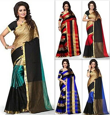 Designer saree Cotton Silk Pakistani Bollywood Indian kanchipuram sari SS