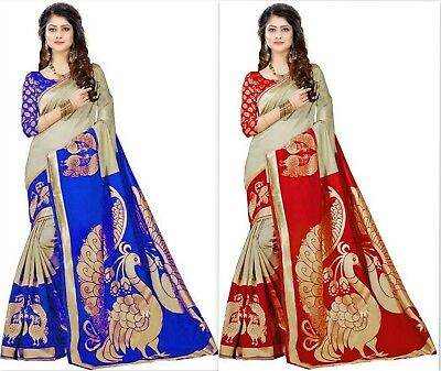 indian kanchipuram silk saree bollywood Designer cotton silk sari traditional PT