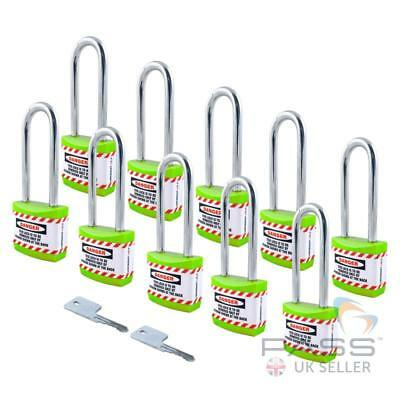 Lockout Long Shackle Jacket Padlocks - Keyed Alike, Pack of 10 (Green)