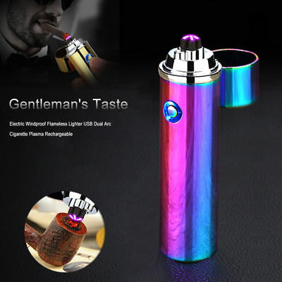 Windproof Cigarette USB Lighter Dual Arc Electric Rechargeable Plasma Flameless