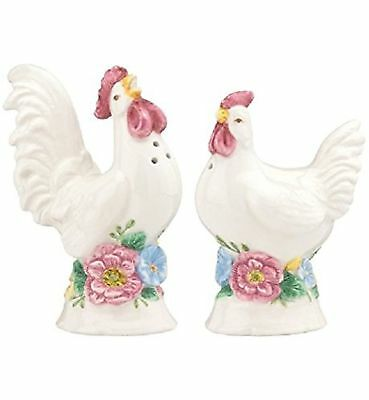Lenox Butterfly Meadow Pair of Roosters Salt & Pepper Shakers new in box