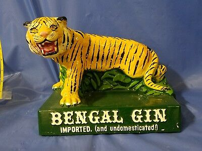Imported Bengal Gin chalkware bottle display bar holder,rare advertising tiger