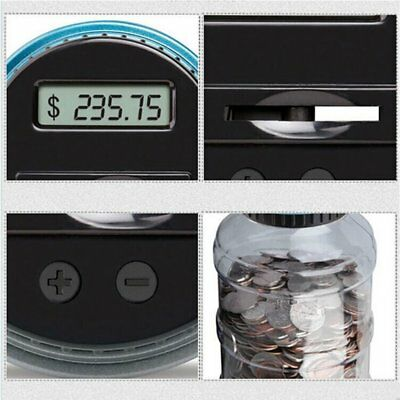 LCD Electronic Digital Counting Coin Bank Money Saving Box Jar Counter EF