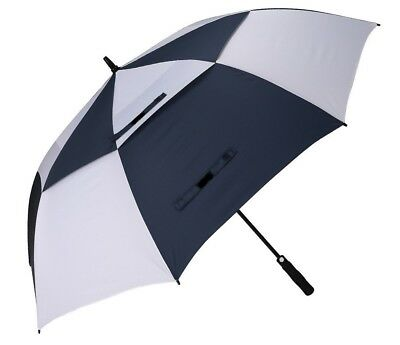 Golf Umbrella Windproof Vented Double Canopy Automatic - Navy Blue White Checked