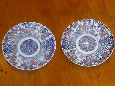 Paire Assiette Ancienne Chine Chinese Blanc Bleu