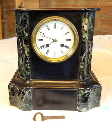 """""""SLATE & MARBLE"""" Chiming Mantel Clock, Works, In Excellent Condition c1880"""