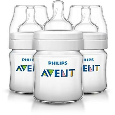 Philips Avent Anti-Colic Baby Bottles Clear 4Oz 3 Piece Quick Easy Clean New