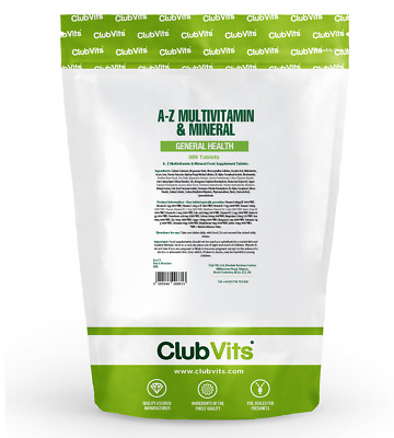 A-Z Multivitamin & Mineral | 365 Tablets | General Health | Club Vits