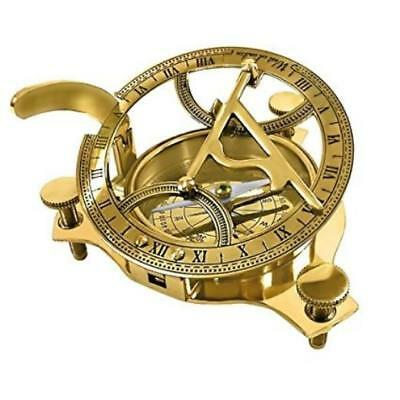 "Solid Brass 3"" Sundial Compass W/ Inlaid Hardwood Box Highly Accurate Itdc New"