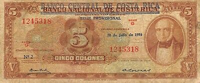 Costa Rica   5  Colones  20.7.1950   P 215a  Series G  Rare Circulated Banknote