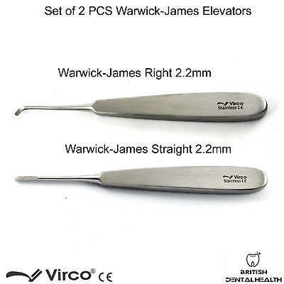 2PCS Warwick James Elevator Straight Right Root Elevators Tooth Extraction Tools