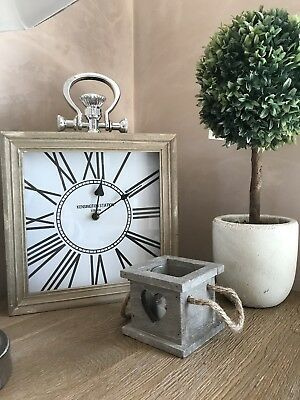 NEW large Wood & Silver Mantel Mantle Clock Vintage Style Square Kensington gift