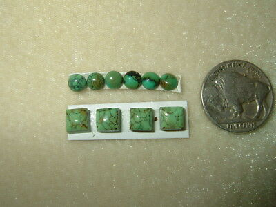 OLD STOCK Lot of 10 pcs Mixed Rounds & Squares Natural Green Turquoise Cabs