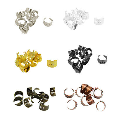 10x Adjustable Blank Rings Base Settings with 3 Loops Jewelry Making Findings