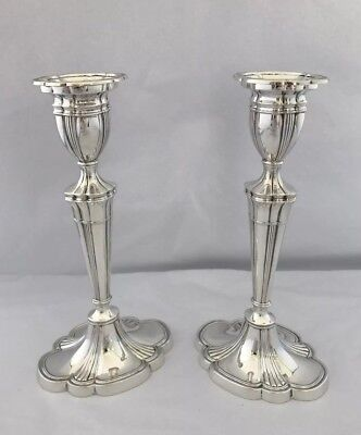 Solid Silver Candlesticks 1990 Birmingham S J Rose 21.5cm In Height